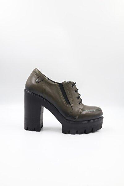 Impero Kadın Haki Kalın Topuklu Ayakkabı