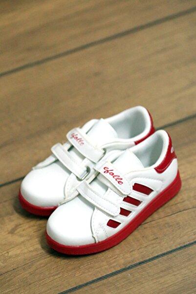 Pembe Potin Çocuk Kırmızı Beyaz Ayakkabı