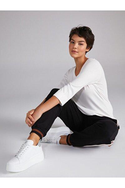 Faik Sönmez Kadın Ekru V Yaka Truvakar Kol T-shirt 00018