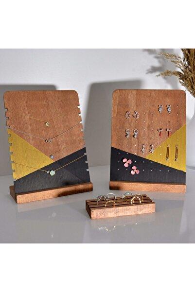 Sunbross Design Takı Standı, Ahşap Masaüstü 3lü Set Dekoratif Takı Askısı Küpelik Yüzük Ve Kolye Organizeri