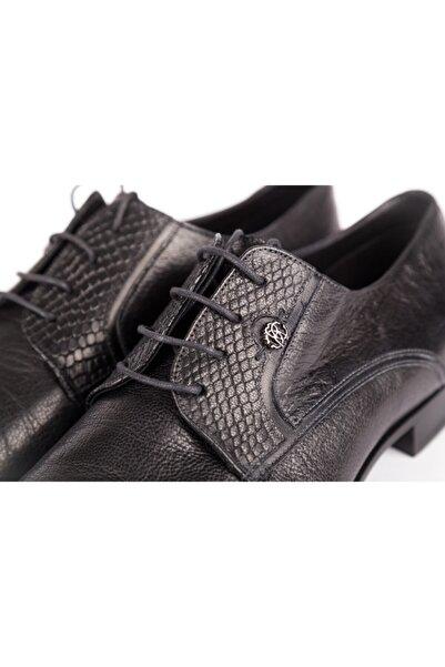 Roberto Cavalli Erkek Siyah Hakiki Deri Klasik Ayakkabı
