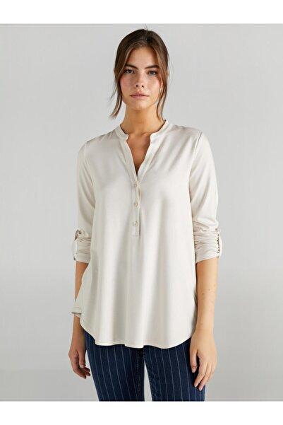 Faik Sönmez Kadın Bej Kaçık Yaka Uzun Kollu T-shirt