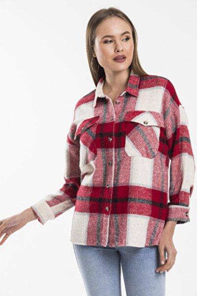 LA QUILLAS Kadın Ekru Kırmızı Ekose Oduncu Gömlek