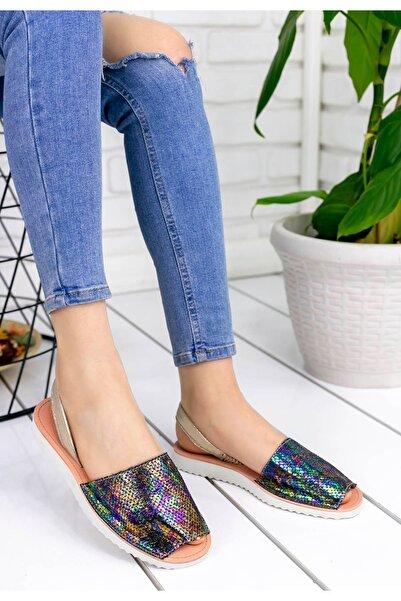 Geyik Giyim Kadın Samiye Mor Cilt Desenli Sandalet