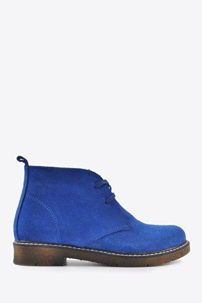 Vizon Ayakkabı Kadın Mavi Nubuk Bot Vzn20-038k