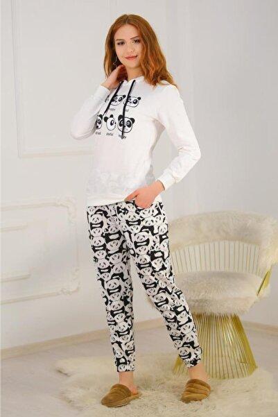 Lukas Kadın Beyaz Panda Desenli Kapüşonlu Pijama Takımı