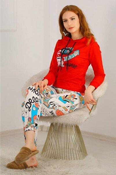 Lukas Kadın Kırmızı Kapüşonlu Pijama Takımı