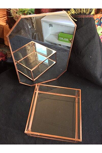 GÜVEN Cam Makyaj Kutusu ve Makyaj Aynası Set