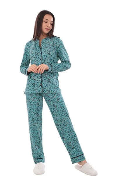 Derbars Kadın Turkuaz Koza Desenli Pijama Takımı 70547