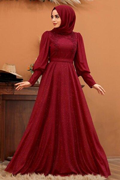 Neva Style Tesettürlü Abiye Elbise - Balon Kol Bordo Tesettür Abiye Elbise 21521br