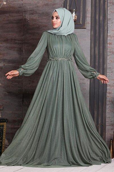 Neva Style Tesettürlü Abiye Elbise - Simli Çağla Yeşili Tesettür Abiye Elbise 21680cy
