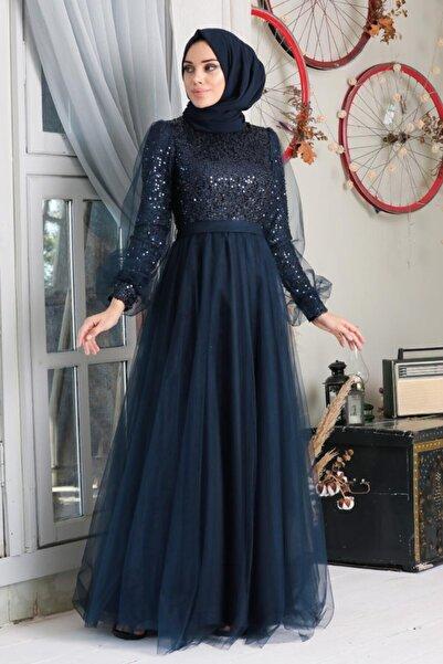 Neva Style Tesettürlü Abiye Elbise - Pullu Lacivert Tesettür Abiye Elbise 21740l