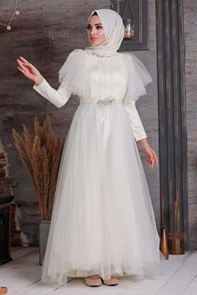 Neva Style Tesettürlü Abiye Elbise - Ekru Tesettür Abiye Elbise 41050e