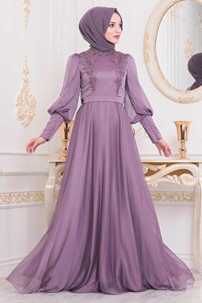 Neva Style Tesettürlü Abiye Elbise - Balon Kol Lila Tesettür Abiye Elbise 21521lıla