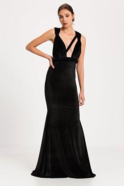 Nunu's Closet by Nur Karaata Kadın Siyah Caprıle Velvet Nıght Mezuniyet Elbisesi