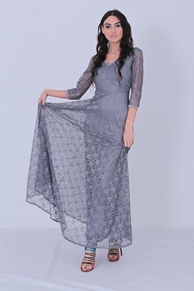Mileny Kadın Gri Kristy Dantel Uzun Abiye Elbise Elb 3810
