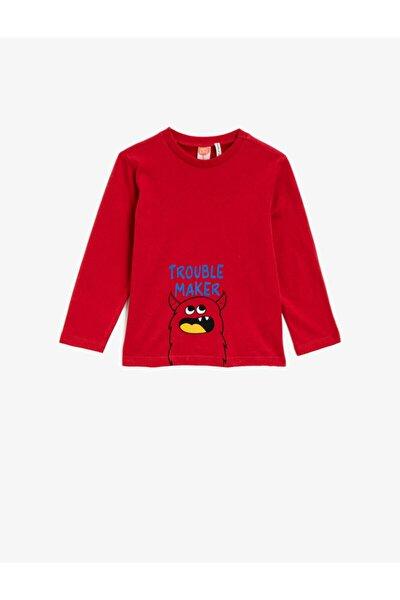 Koton Erkek Bebek Kırmızı Baskili Bisiklet Yaka T-Shirt