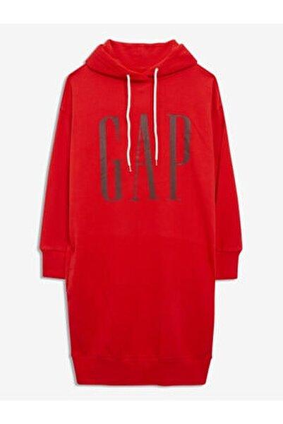 Kadın Kırmızı Logo Sweatshirt Elbise