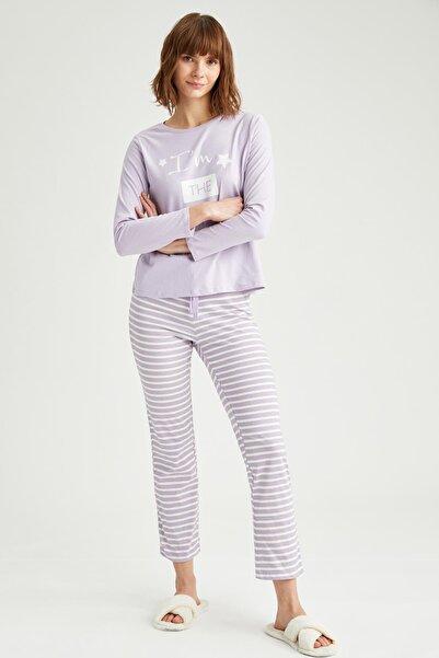 DeFacto Kdın Mor Slogan Baskılı Uzun Kollu Pijama Takımı