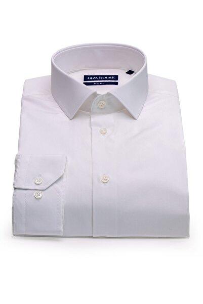 GIZA HOUSE Erkek Albany Beyaz Slim Fit Lüks Pamuklu Gömlek