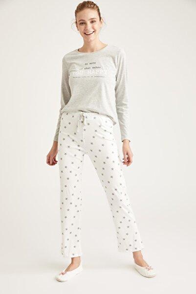 DeFacto Kadın Gri Luna Moon Baskılı Uzun Kollu Pijama Takımı