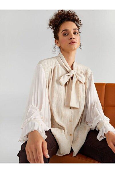 Faik Sönmez Kadın Taş Pilise Kollu Bağlamalı Yaka Gömlek 61330