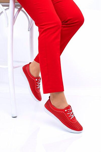 THE FRİDA SHOES Kadın Kırmızı Ortopedik Casual Ayakkabı