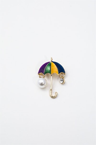 Sortie Aksesuar Kadın Renkli Şemsiye Figürlü Broş