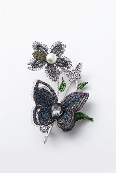Sortie Aksesuar Kadın Gümüş Rengi Metal Broş 011