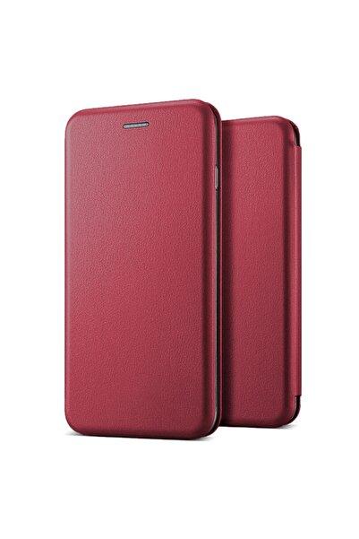 Microsonic Samsung Galaxy A21 Kılıf Ultra Slim Leather Design Flip Cover Bordo