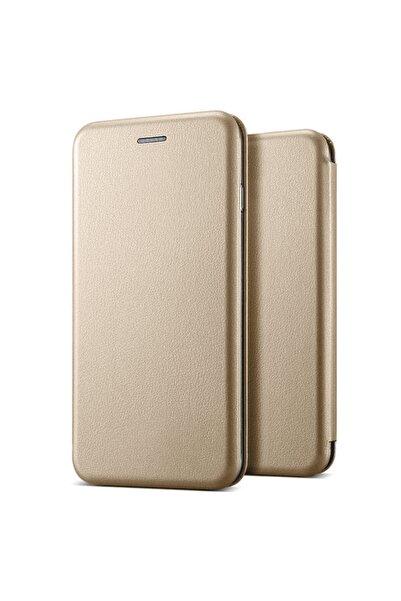 Microsonic P20 Lite Kılıf, Microsonic Ultra Slim Leather Design Flip Cover Gold