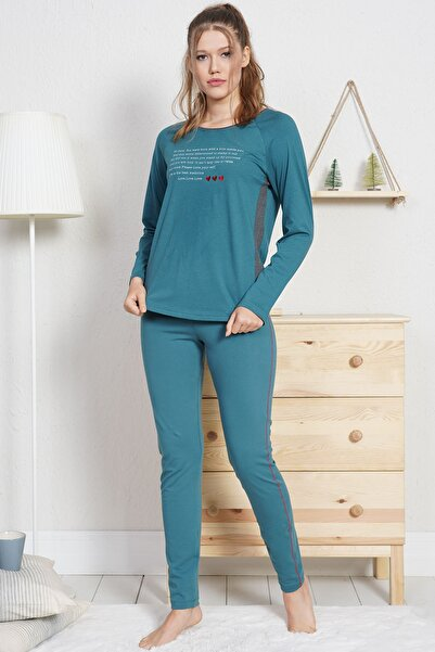 VİENETTA Lycralı Pamuklu Kadın Pijama Takım