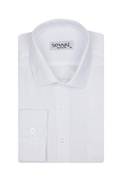 SÜVARİ Erkek Beyaz Rahat Kalıp Cepli Düz Gömlek