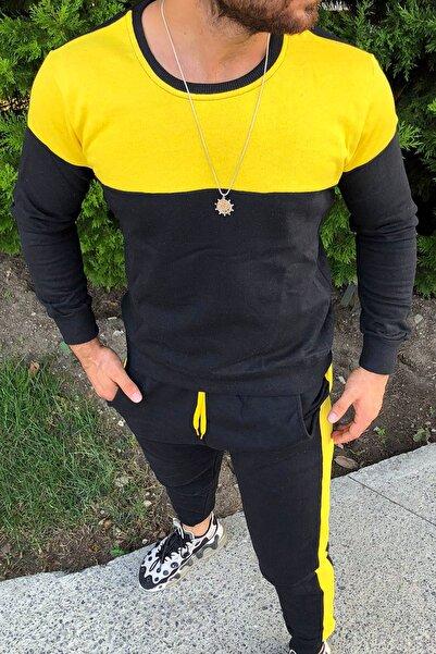 aksesuargo Siyah Slim Fit Sarı Şeritli Eşofman Takımı