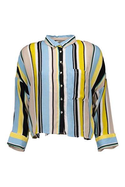Collezione Kadın Mavi Önü Cepli Desenli Uzun Kollu Gömlek