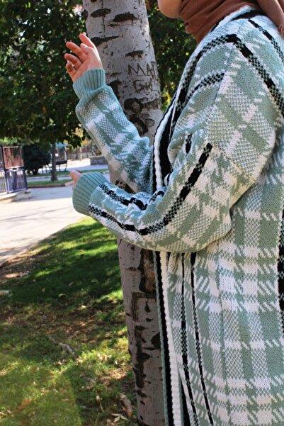 Hatiç Store Kadın Nostalji Desenli Yeşil Renk Tesettür Hırka & Ceket