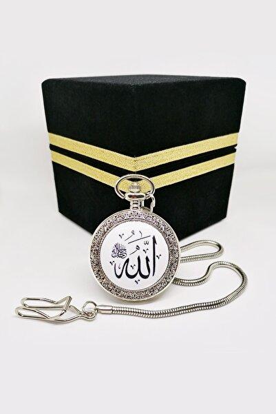 denacci Allah Cc Ve Ayet El Kürsi Yazılı Krom Köstekli Cep Saati Ahşap Kadife Kaplı Kabe Kutusunda