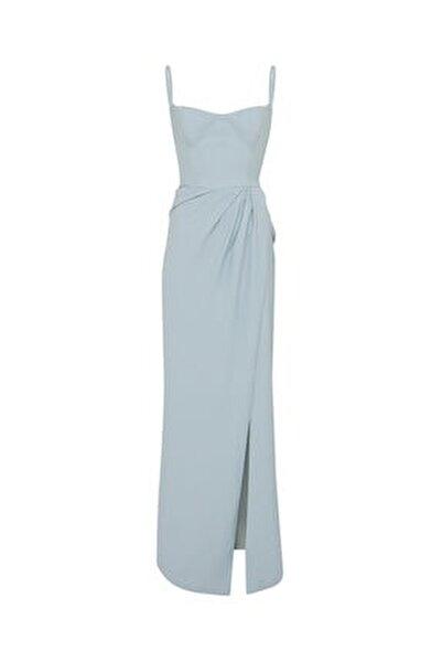 Kadın Mavi Askılı Yırtmaçlı Elbise