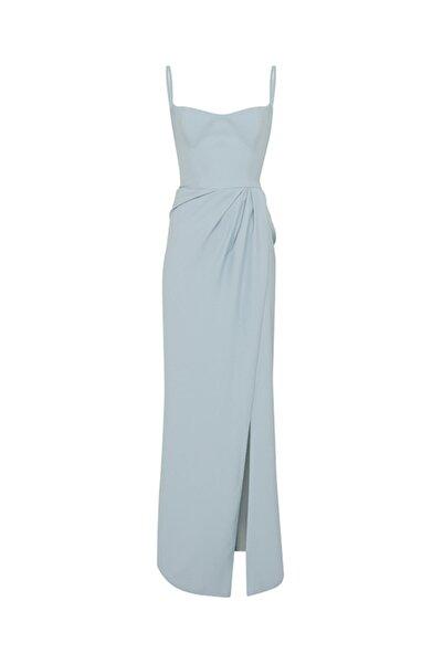 SAGAZA X ILKNUR Kadın Mavi Askılı Yırtmaçlı Elbise