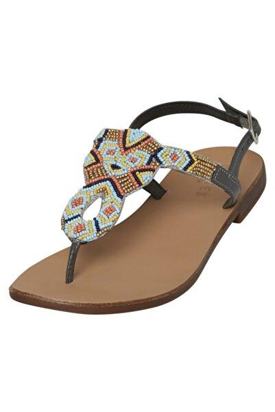 PIECES Kadın Mavi Boncuklu Sandalet