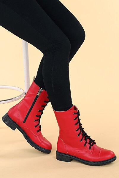 Ayakland Kadın Kırmızı Cilt Termo Taban Bot C901-01