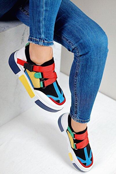 Limoya Kadın Deri Sarı Beyaz Lastikli Spor Ayakkabı