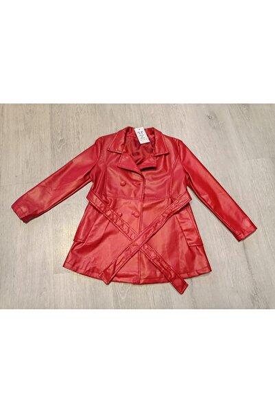 Moda da Moda KIDS Kız Çocuk Kırmızı Kemerli  Suni Deri Trençkot