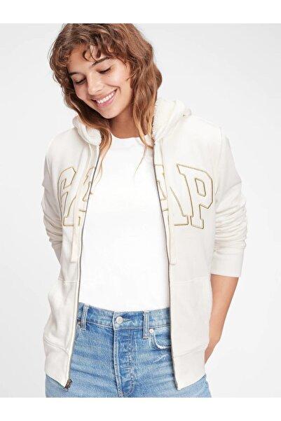 GAP Kadın Beyaz Logo Kapüşonlu Sweatshirt