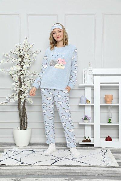 ARCAN Kadın Mavi Pelüş Göz Bandı ve Çorap Hediyeli Bulut ve Yıldız Nakışlı Pijama Takımı 1128-37