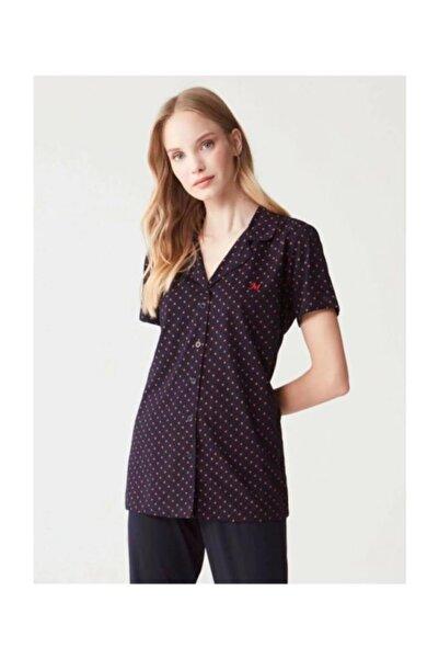 Mod Collection Kadın Lacivert Yakalı Boydan Düğmeli Önden Açık Pijama Takım Mod 3270