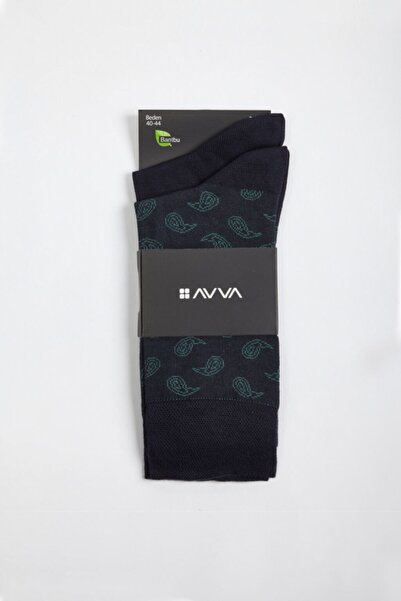 Avva Erkek Lacivert Desenli Soket Çorap A02y8504