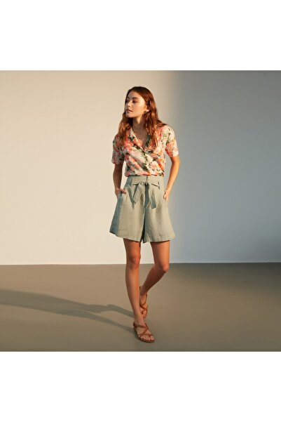 Mudo Kadın Yeşil  Multi Renk Çiçekli Kısa Kollu Bluz 1216664
