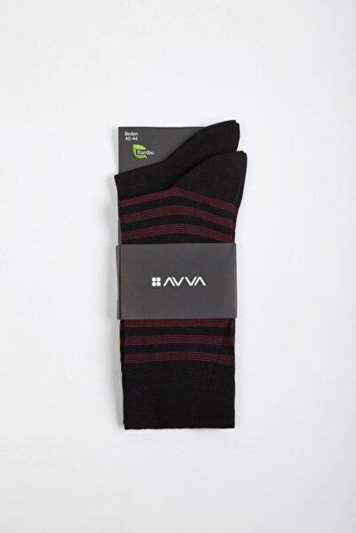 Avva Erkek Siyah Desenli Soket Çorap