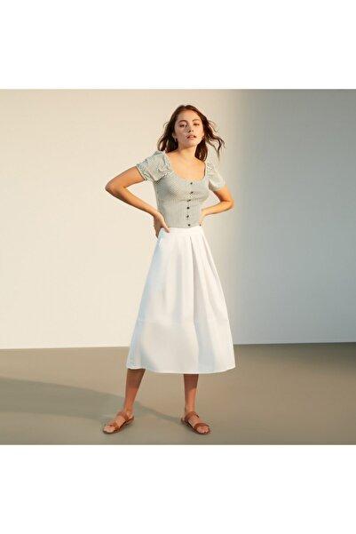 Mudo Kadın Beyaz Çizgili Crop Bluz 1218493